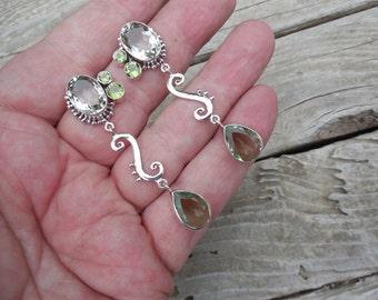 Green amethyst earrings in sterling silver