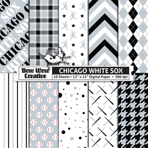 10 Chicago White Sox Digital Papers For Scrapbooking Digital Paper