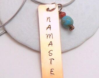 Namaste Necklace | Copper Yoga Necklace | Copper Namaste Pendant | Yoga Pendant | Zen Yoga Jewelry | Minimalist Yoga Necklace | Zen Necklace