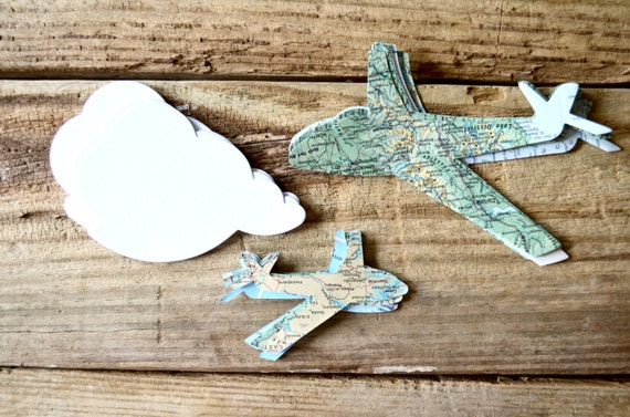 Vintage Map Paper Airplane Confetti, in small and large sizes