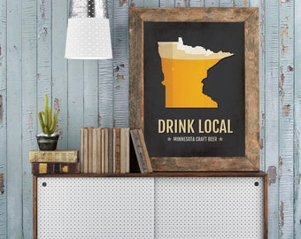 Minnesota Beer Print Map - MN Drink Local Craft Beer Sign - Boyfriend Gift, Husband Gift, Beer Gift, Beer Art, Minneapolis,St Paul Poster