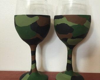 Camouflage Wine Glass