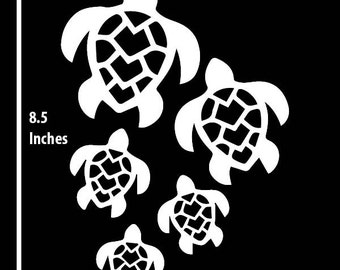 8.5 Inch Family of Turtles Vinyl Vehicle Decal - Choose your Colour