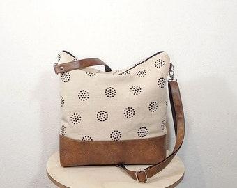 Canvas crossbody JUTE bag, Dots shoulder bag, vegan leather day bag, canvas tote bag, hobo bag, brown crossbody purse, Brown messenger bag