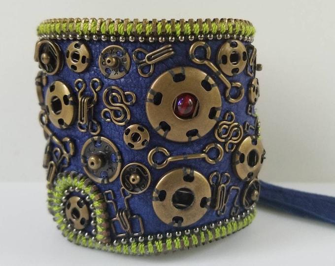Blue Dream Steampunk Leather Cuff.