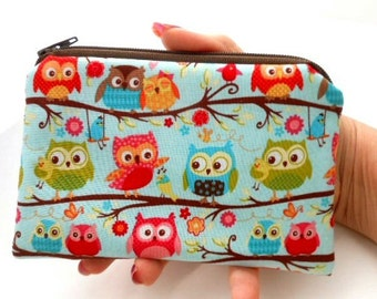Zippered Coin Purse Owls Little Zipper Pouch Small Cosmetic Pouch ECO Friendly Padded Blue Flapper Owls