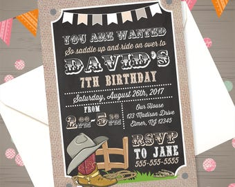 Cowboy Birthday Invitation Cowboy Invitation Cowboy Invite Western Invitation Cowboy Party Cowboy Printables Western Birthday Invitation