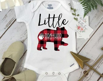 Little Brother Onesie®, Buffalo Plaid Bear, Brothers Shirts, Big Brother Bear Shirt, Buffalo Plaid Shirt, Family tees, Little Brother Reveal