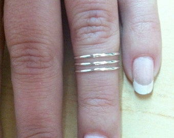 Sterling silver midi ring , sterling silver above the knuckle ring , geometric ring , sterling silver stacking ring