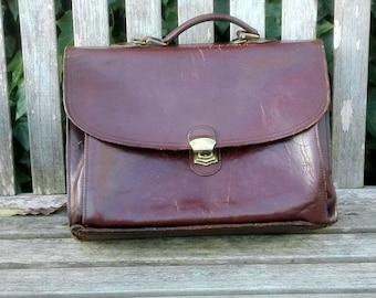 Vintage Leather Messenger Bag, Laptop Bag, Briefcase, Portfolio, Bookbag, 1960's