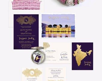 Destination wedding invitation Jaipur Rajasthan India Asia Indian Wedding Lilac Purple Eggplant Gold illustrated wedding Deposit Payment