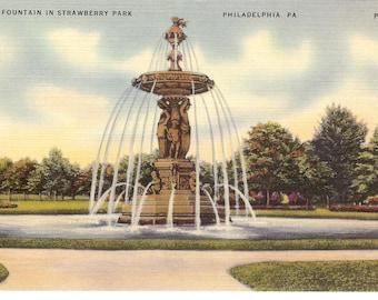 Vintage Linen Postcard....Pennsylvania, Philadelphia, Fountain in Strawberry Park...Used...no. PA0049