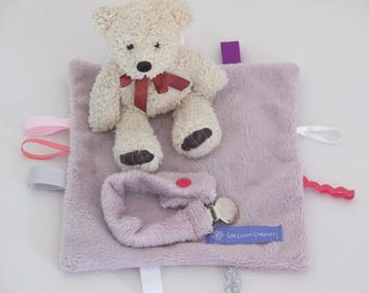 Birth Kit / baby girl blanket and pacifier gift set