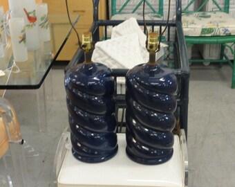 Pair of Spiral Navy Blue Ceramic Lamps