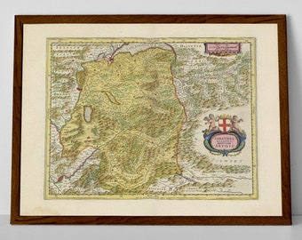 Savoy, old map of Geneva, Turin, Italy reproduction print | Grenoble, Annecy, Genève, Torino, Aosta, Morgins, Champery, Champoussin