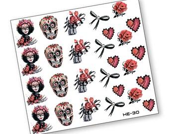 Nail Art Transfer Stickers Water Slide Decals Labels Tattoos Trendy Fashion Popular Style Pumpkin Halloween