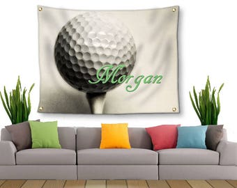 Golf Tapestry-Personalized Golf Decor-Tapestry with Grommets-Custom Wall Decor-Golf Wall Decor-Custom Sports Decor-Tapestry with Your Name