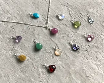 delicate silver gemstone drop necklace