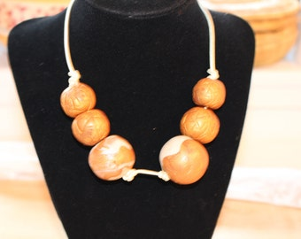 Shimmer gold necklace, Eco Friendly handmade clay beads