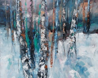 WINTER MAGIC #4, 50x70cm, snow forest trees landscape original painting