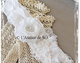 Romantic lace, satin and rhinestone Cuff Bracelet