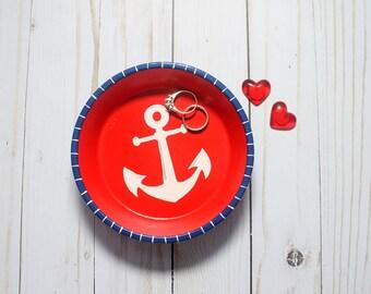 Anchor Ring Dish Nautical Jewelry Dish Key Dish Change Holder Hand Painted READY TO SHIP Engagement Ring Dish Trinket Dish Candy Dish Beach