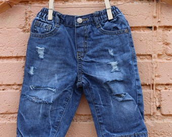 Ripped Baby Jeans Distressed Jeans 3-6 Months Infant Jeans Distressed Denim Toddler Jeans Acid Wash Jeans Trendy Baby Clothes
