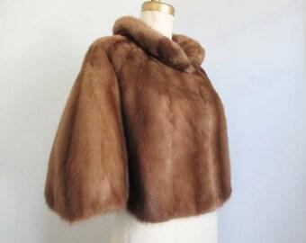 Mink Fur Stole Opera Jacket Cape Autumn Haze Vintage
