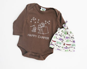 Happy Camper Baby Shirt and Hat - Unisex Organic Bodysuit in Brown- Size 0 3 6 12 months  Long Sleeves with Matching Hat-  Baby Clothes
