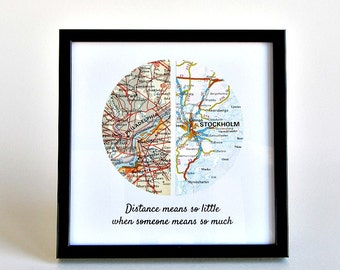 Long Distance Boyfriend Gift, Valentine's Gift for Boyfriend, Gift for Girlfriend, Gift, Going Away Gift, Personalized Long Distance Map