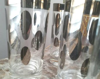 Vintage water tumblers silver poke a dots set of glasses