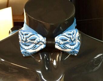 Light Blue Hankie Bow Tie
