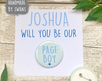 Page boy card, page boy gift, personalised page boy card, will you be our page boy, badge card, pin badge card, greeting card with badge