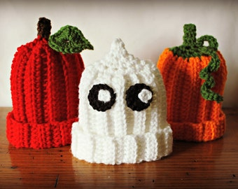 Crochet Fall Baby Hat, Pumpkin Hat, Ghost Hat, Apple Hat, Fall Baby Hat, Fall Newborn Hat, Baby Halloween Costume, Halloween Costume