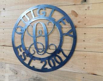 Established Date Sign, Metal Door Hanger, Metal Established Sign, Last Name Sign, Raw Metal, Wall Art, Anniversary Gift, Front Door Sign