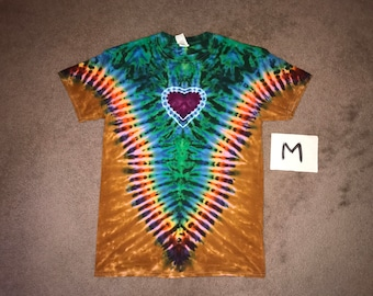 Tie Dye T-Shirt ~ Fire /Palomino Gold V with Purple Heart i-8282 in Adult Medium