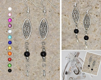 Kit earrings drop and Oval Filigree connector