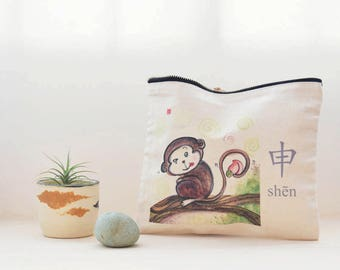 monkey pouch,cosmetic bag,gift for him, best friend gift,toiletry bag,travel organizer,large pencil case,chinese zodiac,gadget bag,under 20