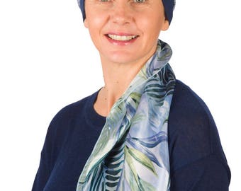Keira - Jersey Cotton Hat with Chiffon Scarf for Cancer, Chemo and Hair Loss