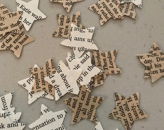"""200 Hand Punched 1"""" Vintage/Romance Novel Page Stars"""