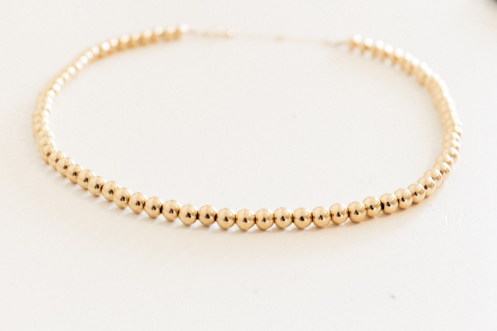 Gold Bead Choker / Gold Choker / Gold Bead Necklace / Gold