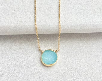 Aqua Druzy Pendant Necklace - Druzy Necklace - Druzy Jewelry