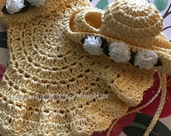 Crochet Vest and Hat Set/Cotton Yarn/Color: Light Yellow *Ready to Ship*