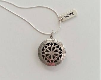 Filigree-Hope Diffuser Necklace, aromatherapy pendant, silver color, Hope charm, 24-inch chain, essential oil diffuser jewelry