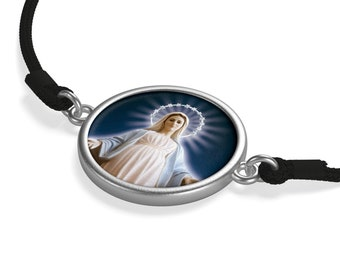 Catholic gifts - The Virgin of Medjugorje - 2 colors - Cord Bracelet - Catholic Jewelry - catholic Bracelet - Virgin Mary - Religious gifts