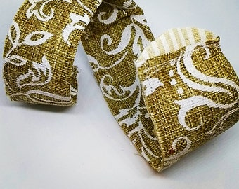 Adjustable burlap and fabric braclet