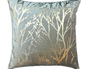"Designer Taupe Colour Foil Printed Throw Pillow Cover, 18""x18"" Taupe Velvet Print Pillowcase, Metallic Print Square Pillow Cover - Tree Foil"