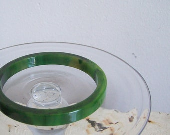 Antique bakelite bangle marbled greens straight stacking cut free shipping to USA