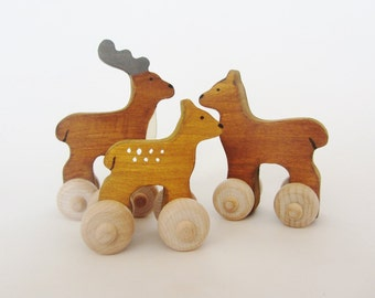 READY TO SHIP - Wood Toy Deer Family set