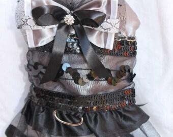 Dog Dress,Harness Dress,Dog Harness Dress,Black Dog Dress, Silver Dog Dress, Platinum Sequence  Dog Dress